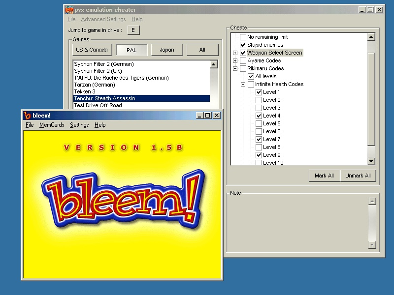 download pec (psx cheat emulator)